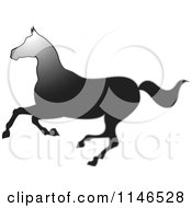 Clipart Of A Gradient Black Running Horse Silhouette Royalty Free Vector Illustration