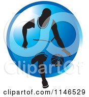 Clipart Of A Basketball Player Dribbling Over A Blue Circle Royalty Free Vector Illustration by Lal Perera
