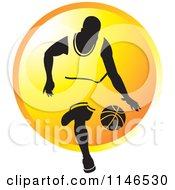 Clipart Of A Basketball Player Dribbling Over An Orange Circle Royalty Free Vector Illustration by Lal Perera