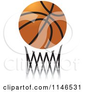 Clipart Of A Basketball Over Netting Royalty Free Vector Illustration