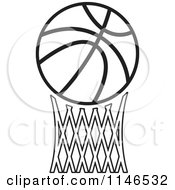 Clipart Of A Black And White Basketball Over Netting Royalty Free Vector Illustration