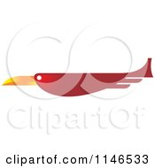 Clipart Of A Red Flying Bird Royalty Free Vector Illustration by Lal Perera