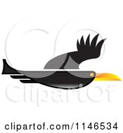 Clipart Of A Black Flying Bird Royalty Free Vector Illustration