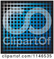 Clipart Of A Blue And Black Grid Background Royalty Free Vector Illustration
