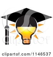 Clipart Of A Lightbulb With A Graduation Cap Royalty Free Vector Illustration