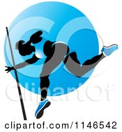 Clipart Of A Silhouetted Pole Vault Woman Over A Blue Circle Royalty Free Vector Illustration by Lal Perera