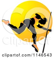 Clipart Of A Silhouetted Pole Vault Woman Over An Orange Circle Royalty Free Vector Illustration by Lal Perera