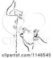 Clipart Of A Retro Vintage Black And White Squrrel Annoying A Boar Royalty Free Vector Illustration