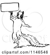 Retro Vintage Black And White Squirrel Holding A Sign