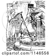 Clipart Of Retro Vintage Black And White David Playing A Harp For King Saul Royalty Free Vector Illustration