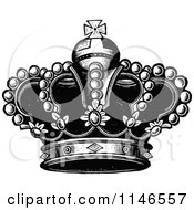 Clipart Of A Retro Vintage Black And White Royal Crown 3 Royalty Free Vector Illustration by Prawny Vintage