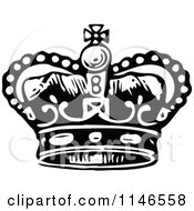 Clipart Of A Retro Vintage Black And White Royal Crown 2 Royalty Free Vector Illustration by Prawny Vintage