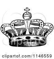 Clipart Of A Retro Vintage Black And White Royal Crown Royalty Free Vector Illustration by Prawny Vintage