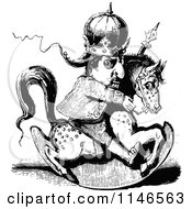 Clipart Of A Retro Vintage Black And White Crazy King Riding A Rocking Horse Royalty Free Vector Illustration by Prawny Vintage