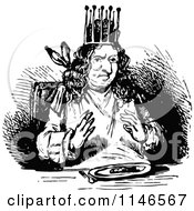 Clipart Of A Retro Vintage Black And White King Eating Supper Royalty Free Vector Illustration by Prawny Vintage