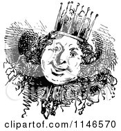 Clipart Of A Retro Vintage Black And White Happy Chubby King Royalty Free Vector Illustration by Prawny Vintage