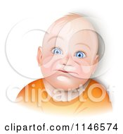 Cartoon Of A Blue Eyed Caucasian Baby Smiling Royalty Free Vector Clipart by Oligo