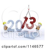 Clipart Of 3d New Year White Construction Characters Replacing 2012 With 2013 Royalty Free CGI Illustration