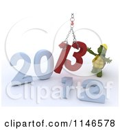 Clipart Of A 3d New Year Construction Tortoise Replacing 2012 With 2013 Royalty Free CGI Illustration