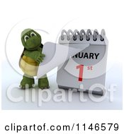 Clipart Of A 3d Tortoise Revealing New Years Day On A Calendar Royalty Free CGI Illustration