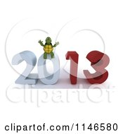 3d Tortoise Sitting On New Year 2013