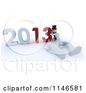Clipart Of A 3d Snowman Pushing New Year 2013 Numbers Together And Knocking Down 12 Royalty Free CGI Illustration