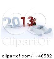 Clipart Of A 3d Christmas Elf Pushing New Year 2013 Numbers Together And Knocking Down 12 Royalty Free CGI Illustration