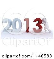 3d White Character Pushing New Year 2013 Numbers Together