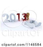Clipart Of A 3d Box Boy Pushing New Year 2013 Numbers Together And Knocking Down 12 Royalty Free CGI Illustration by KJ Pargeter