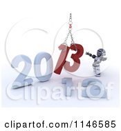 Clipart Of A 3d New Year Robot Replacing 2012 With 2013 With A Hoist Royalty Free CGI Illustration