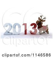 Clipart Of A 3d Reindeer And New Year 2013 Royalty Free CGI Illustration
