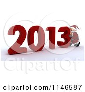 Clipart Of A 3d Santa Pushing New Year 2013 Numbers Together Royalty Free CGI Illustration