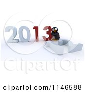 Clipart Of A 3d Penguin Pushing New Year 2013 Numbers Together And Knocking Down 12 Royalty Free CGI Illustration by KJ Pargeter