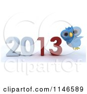 Clipart Of A 3d Owl Over A New Year 2013 Royalty Free CGI Illustration