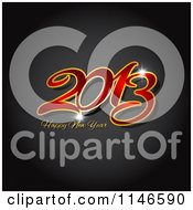 Clipart Of A Red And Gold Happy New Year 2013 Greeting Over Carbon Fiber Royalty Free Vector Illustration