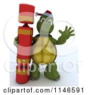 3d Tortoise Waving With A Christmas Cracker
