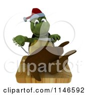 Clipart Of A 3d Christmas Tortoise Trimming A Roasted Turkey Royalty Free CGI Illustration