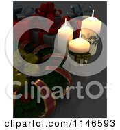 Clipart Of A 3d Christmas Wreath With Babubles Candles And Gifts Royalty Free CGI Illustration by KJ Pargeter