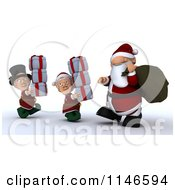 Clipart Of A 3d Santa And Christmas Elves Carrying Gifts Royalty Free CGI Illustration