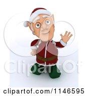 Clipart Of A 3d Christmas Elf Waving Royalty Free CGI Illustration