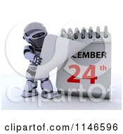 Clipart Of A 3d Robot And Christmas Eve On A Calendar Royalty Free CGI Illustration by KJ Pargeter