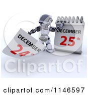 Clipart Of A 3d Robot And A Christmas Date On A Calendar Royalty Free CGI Illustration by KJ Pargeter