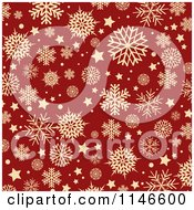 Clipart Of A Background Of Retro Tan Snowflakes Over Red Royalty Free Vector Illustration by KJ Pargeter