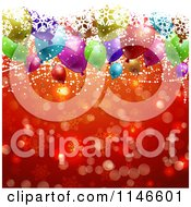 Clipart Of A Christmas Party Background With Snowflakes Balloons Stars And Red Snowflakes Royalty Free Vector Illustration by KJ Pargeter