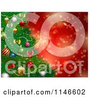 Clipart Of A Christmas Tree Background With Red Snowflakes And Bokeh Lights Royalty Free Vector Illustration