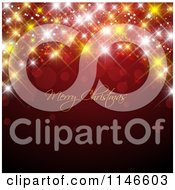 Clipart Of A Merry Christmas Greeting With Sparkly Bokeh Lights On Red Royalty Free Vector Illustration