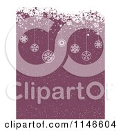 Clipart Of A Purple Christmas Snow Background With Grunge And Hanging Ornaments Royalty Free Vector Illustration