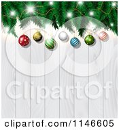 Christmas Bauble And Tree Branch Background Over White Wood