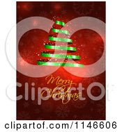 Clipart Of A Merry Christmas Greeting Under A Green Spiral Ribbon Tree On Red Snowflakes Royalty Free Vector Illustration