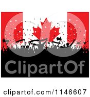 Clipart Of A Silhouetted Party Crowd Over A Canadian Flag Royalty Free Vector Illustration